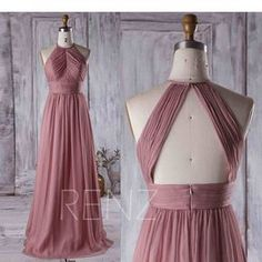 Dusty Rose Bridesmaid Dress, Ruched Chiffon High Neck Wedding Dress, Long Prom Dress, High Neck Evening Gown Floor Length (J017)