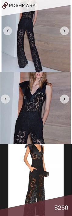 NWOT Alexis Oscar Black Ruffle Lace Jumpsuit XS Alexis ....Oscar black lace romper with detachable shorts on the inside sz xs small new with out tags in perfect condition comes from a pet free smoke free home has a black line through inside label to prevent illegal store returns Alexis Dresses