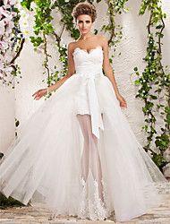 Vestido de Noiva Trapézio/Princesa Coração/Sem Alças Comprido (Tule)