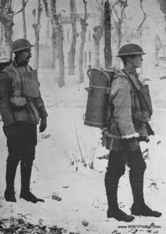 Soup containers being carried to the trenches, WWI