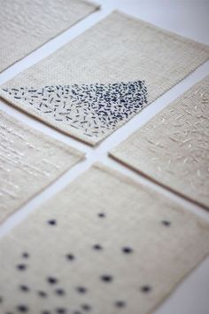 Monochromatic Embroidery with scattered stitches for pattern & texture; sewing; textile design