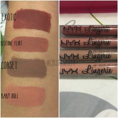 NYX Lingerie Liquid Lipstick Swatches on Medium Skin Tone. Colors : Exotic , Bedtime Flirt, Corset and Baby Doll. They are nude shades and dry matte.
