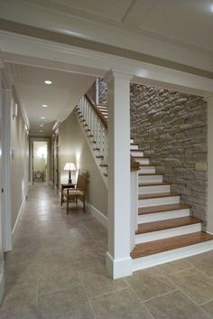 Dream home ideas. Stairs and wall stonework.