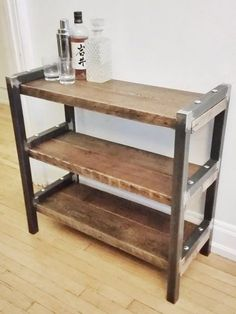Refurbished furniture Shelves - Reclaimed Wood and Steel Console Shelves Bota Shelves. Loft Furniture, Steel Furniture, Refurbished Furniture, Cheap Furniture, Industrial Furniture, Pallet Furniture, Rustic Furniture, Living Room Furniture, Furniture Design