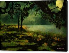 """The View from Peter's Bench"" © 2017 RC deWinter The moon shines down on calm waters on a summer night at the shore in Stamford, Connecticut. Shown here as a 20"" x 20"" matte canvas with black gallery-wrap sides. Available as wall art in a wide variety of media, sizes and configurations. Also available as greeting cards, home decor items, clothing, mugs, totes and other accessories. Pinterest prices inaccurate."