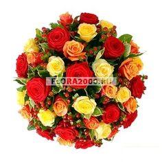 Роскошный букет роз для особого случая, для особой девушки — той, что лучше всех! В нем собраны цветы с лепестками теплой желто-оранжево-алой гаммы.