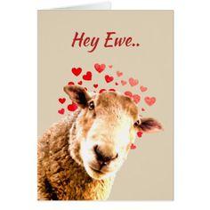 Romantic Pun Love Ewe  Funny Sheep Animal Humor Card - personalize gift idea special custom diy or cyo