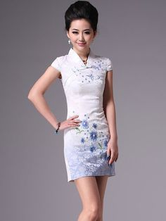 White Short Floral Cheongsam / Qipao / Chinese Party Dress