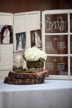 Love everything about this from the shutter to the window pane to the wood log centerpiece