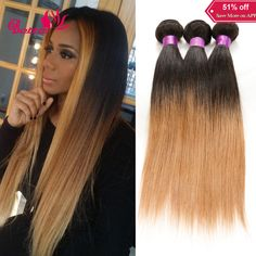 7A Ombre Hair Extensions 1B/27 Brown Dark Roots Blonde Human Hair Weave Peruvian Straight 3 Bundles Pervian Virgin Hair Straight