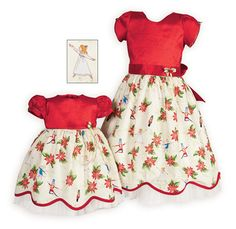 Claras Matching Sisters Christmas Dresses Beautifully crafted sister dresses have rich red stretch taffeta bodices and cotton skirts with festive poinsettia and nutcracker characters dancing a Baby's First Christmas Outfit, Girls Christmas Dresses, Holiday Dresses, Winter Dresses, Christmas Clothing, Girls Special Occasion Dresses, Dresses For Tweens, Toddler Outfits, Traditional Outfits