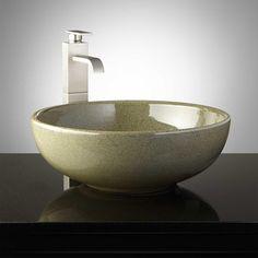 Colchester Hand-Glazed Pottery Vessel Sink - Toasted Sage - Vessel Sinks - Bathroom Sinks - Bathroom