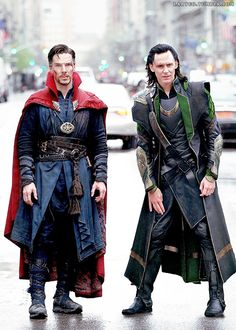 I am literally in love right now. To Hiddleston and Benedict Cumberbatch as Loki and Doctor Strange.