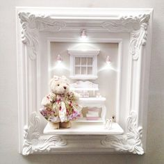 Baby Crafts, Diy And Crafts, Teddy Bear Crafts, Baby Frame, Miniature Rooms, Diy Letters, Baby Memories, Baby Bedroom, Box Frames