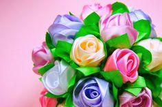 Мастер-класс: Бутоны Роз в Букет-Шар. / Ribbon Rose, Bouquet-Ball / Tuto...