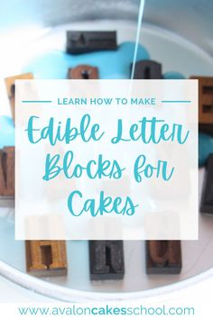 We put together a free cake decorating technique tutorial to help you improve your cake decorating skills! This cake decorating tutorial will teach you how to make edible letters. Made from candy melts and brushed in edible silver glitter, these edible cake letters are the perfect addition to any cake design. Grab this cake decorating tutorial for beginner cake decorators and advanced cake decorators while it's free! Cake Decorating For Beginners, Cake Decorating Techniques, Cake Decorating Tutorials, Drip Cake Tutorial, Fondant Cake Tutorial, Cake Lettering, Block Lettering, School Cake, Geode Cake