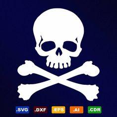 Skull Crossbones Svg Dxf Eps Ai Cdr Vector Files for Vector File, Eps Vector, Vector Format, Png Format, Skull And Crossbones, Pirate Skull, Pirates, Illustrator Cs5