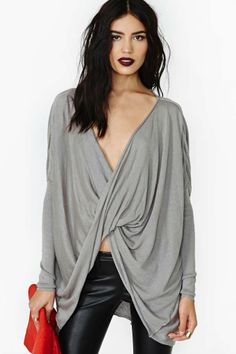 Slouchy Gray/Grey Knit Top. I would live in this shirt.