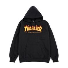 Thrasher Flame Logo Hoodie, Black Felpe Cappuccio ❤ liked on Polyvore featuring tops, hoodies, logo hoodie, hooded sweatshirt, hooded pullover, sweatshirt hoodies and logo hoodies