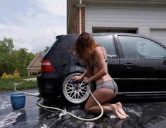 Girl washin the GTI