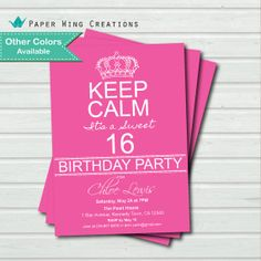 Invitaciones Keep Calm 15 años