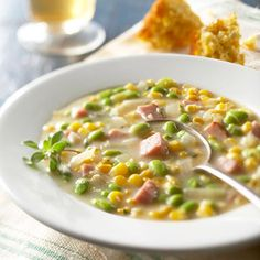 corn recipes, chowder recip, soupsstewsand chili, food, chowders, corn chowder, homemade soups, eat, summer corn