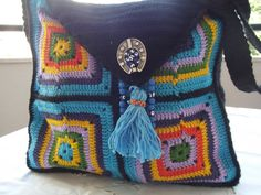 crochet bag square granny colorful hanging bag cotton by nilsmake, $34.45