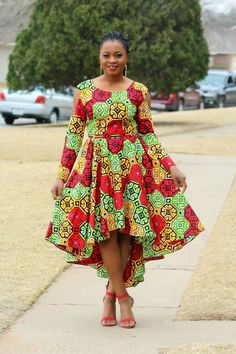 A beautiful statement Nura African Print Ankara Dress Knee length dress ready to wear either with your favorable pair heels * Lined