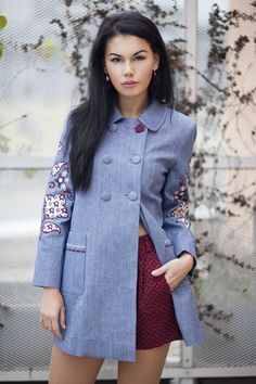 Excited to share the latest addition to my #etsy shop: Jeans coat with embroidery http://etsy.me/2D3oLUB   #clothing #women #jacket #blue #birthday #newyears #red #sexy #elegant