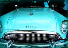 Vintage Car Turquoise Teal Aquamarine Buick Peacock Mid-Century Affordable Photography 5 x 7 Rockabilly Pin Up, Aqua, Teal, Turquoise, Ferrari Car, My Ride, Buick, Motor Car, Vintage Cars