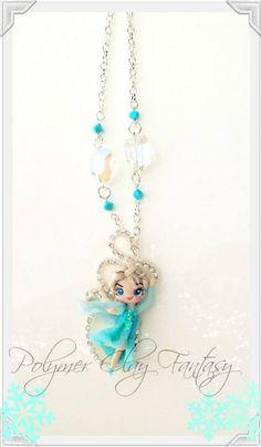 Frozen Elsa polymer clay doll pendant by PolymerClayfantasy.deviantart.com on @deviantART