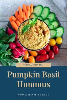 Pumpkin Basil Hummus – Sareena's Food Pumpkin Hummus, Pumpkin Puree, Basil Hummus, My Recipes, Vegan Recipes, Canned Chickpeas, Dairy Free, Clean Eating, Appetizers