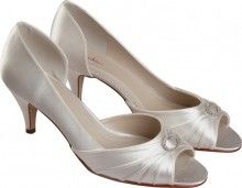 AMELIE pleated open toe Bridal Shoe