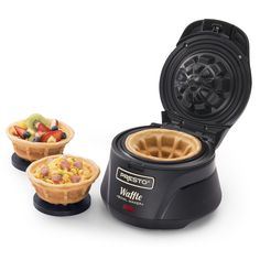 This Presto Belgian Waffle Bowl Maker creates a 4-inch waffle bowl using your favorite waffle batter. No special batter is needed. A delightfully different kind of waffle bow, it is thick, fluffy and tender because it is a real waffle! Make hearty breakfasts by filling with scrambled eggs, ham, sausage, hash browns and more. You can even fill them and pick them up for a handheld waffle taco. Waffle bowls are also great for desserts like ice cream sundaes.