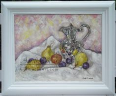 ORIGINAL FRAMED OIL PAINTING SILVER COFFEE POT & FRUIT STILL LIFE