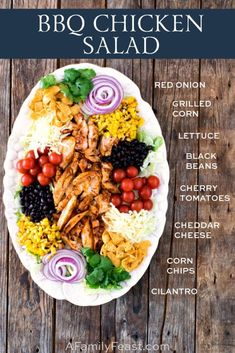 This BBQ Chicken Salad has crispy lettuce topped with tender, BBQ grilled chicken, grilled corn, black beans, shredded cheese and more! Salata BBQ Chicken Salad Recipe - A Family Feast® Grilled Bbq Chicken, Bbq Chicken Salad, Chicken Salad Recipes, Chef Salad Recipes, Healthy Snacks, Healthy Eating, Healthy Recipes, Salad Ingredients, Appetizers
