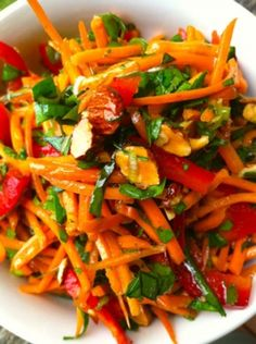 ..This salad is bursting with a rainbow of flavors. Veggies should never be boring and this one is for sure a winner! Serve with a piece of seared halibut, salmon, chicken, grass-fed steak or lentils and enjoy.