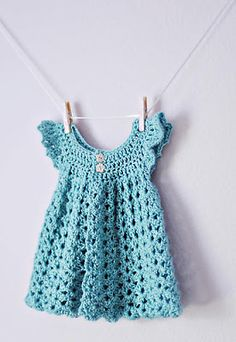 Crochet a tiny blue dress for baby... ♥ A free pattern at Bev's Country Cottage
