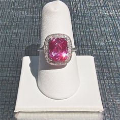 14k White Gold Pink Corundum Gemstone Ring with by skinnyBLING, $350.00  my dream ring with my girls birthstone colour