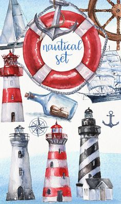 Owl Clip Art, Homemade Stickers, Lighthouse Pictures, Flower Doodles, Ocean Themes, Nautical Theme, Christmas Art, Graphic Design Illustration, Watercolor Paper