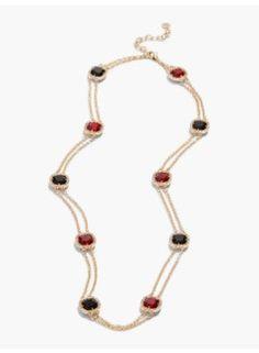 Sparkle Cabochon Station Necklace