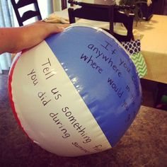 Get to know you beach ball. Fun for the first day of school!