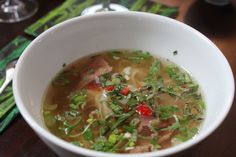 Pho Bo - Vietnamese Soup with Herbs, Spices and Beef strips