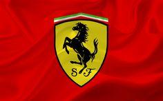 Lataa kuva Ferrari, punainen lippu, Ferrari-logo, punainen silkki