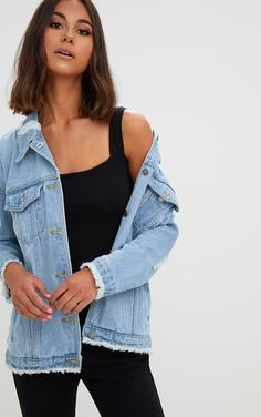 Lightwash Distressed Oversized Denim JacketRock some fabulous denim with this jacket. Featuring a...