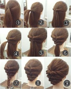 cool braids that are actually easy - Hair - Hair Designs Step By Step Hairstyles, Up Hairstyles, Pretty Hairstyles, Updos Hairstyle, Hairstyle Ideas, Easy Elegant Hairstyles, Simple Hair Updos, Medium Hair Updo Easy, Simple Hairstyles For Medium Hair
