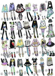 Finally I had time to do another 28 pack pastel goth/grunge themed outfits!I am excited as always NO: Payment plans,HOLDS (send payment in 24 hours), Claim design as your own, Tr. Fashion Design Drawings, Fashion Sketches, Cute Drawings, Drawing Sketches, Outfit Drawings, Doll Drawing, Drawing Ideas, Sketching, Bild Girls