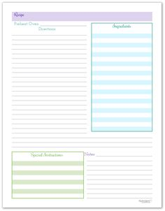 Recipe Page- Purple, Blue, and Green