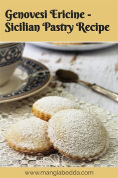 Made famous by Maria Grammatico's pasticceria in Erice, Sicily! #genovesi #Sicilianpastry Sicilian Recipes, Pastry Recipes, Delicious Recipes, Vegan Recipes, Tim Tam, Vegetarian Eggs, Shortcrust Pastry, Sifted Flour, Pastry Shop