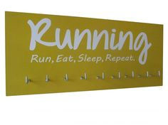 motivational Runningquotes on medals hanger - Run Eat Sleep Repeat - medal awards - medal wall plaque - medal holder - gifts for runners - running gift - $24.99